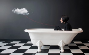 Picture girl, cloud, bath