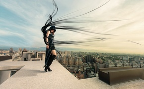 Picture roof, girl, the city, the wind, hair, Dark Angel