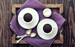Picture coffee, milk, Cup, napkin, tray, saucers, spoon