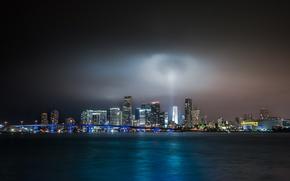 Picture light, night, bridge, Miami, light, Miami, bridge, night