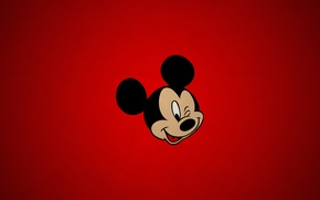 Picture simple, red, texture, cartoon, disney, paper, Mickey, mouse