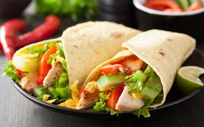 Picture vegetables, chicken tacos, ingredients