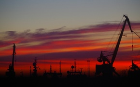Picture the sky, clouds, sunset, crane
