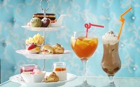 Picture summer, glasses, cocktail, cake, dessert, sweet