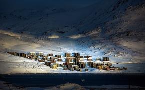 Picture city, winter, town, urban, Arctic, Greenland, Qinngorput, Nuuk