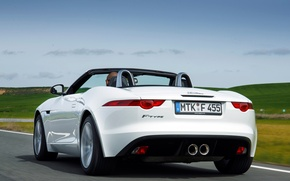 Wallpaper car, machine, the sky, Jaguar, white, rear view, 2013, F-Type