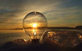 Wallpaper the sun, sunset, Light bulb