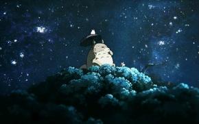 Picture night, tree, My neighbor Totoro, My Neighbor Totoro, drinking tea