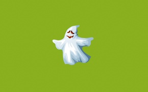 Wallpaper minimalism, green, white, Ghost, ghost, Ghost, smile