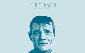 Picture jazz, author, painting, portrait, trumpet, chet, minimalism, Chet Baker, baker, kanni, kanni.pro