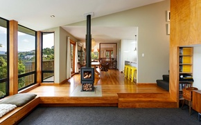 Picture design, New Zealand, style, interior, fireplace, living space