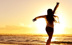 Picture sand, sea, beach, freedom, water, girl, sunset, background, the wind, widescreen, Wallpaper, mood, wave, shorts, …