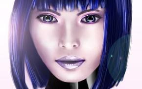 Picture eyes, look, girl, hair, haircut, art, cyborg, cyberpunk