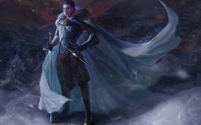 Picture weapons, the wind, elf, sword, art, guy, cloak