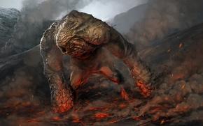Picture fiction, mountain, monster, art, lava golem