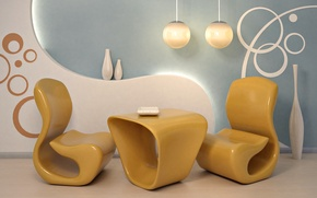 Picture design, style, room, interior, chair, vase, form, yellow, apartment