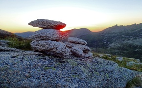 Picture the sun, sunset, mountains, stone