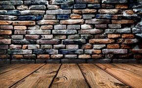 Picture wall, Board, floor, bricks