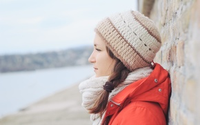 Picture girl, hat, profile, scarf. pigtail