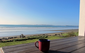 Picture sand, beach, shore, mug, porch