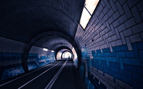Picture road, light, the way, lights, people, tile, the tunnel, snipes