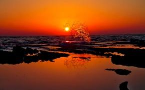 Picture sea, wave, the sun, sunset, splash
