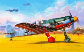 Picture mountains, figure, art, the airfield, Messerschmitt, aircraft, jet, fighter-bombers, WW2, German, the sky, earth, Me.262, ...