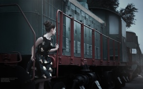 Picture Girl, trains, beautiful, photoshoot, KhusenRustamov, artirbisproduction, Photo session in Tashkent, steam Museum