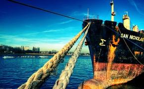Wallpaper SHIP, ROPES, MARINA