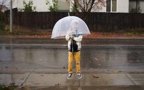 Picture boy, umbrella, jump, child