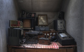 Picture Abandoned, equipment, Typewriter, background, Lost