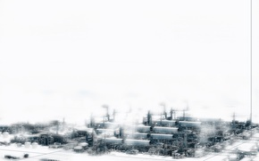 Wallpaper white, the city, industrial, plant, snow, techno