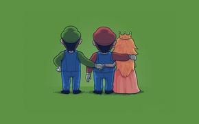 Picture green, Mario, Luigi, Princess Peach, Mario Bros