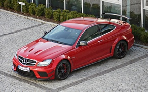 Picture red, coupe, Parking, Mercedes, spoiler, Mercedes, AMG, Mercedes Benz C 63 AMG Coupe Black Series