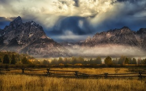 Wallpaper field, clouds, trees, mountains, fog, the fence, storm, valley, sunlight