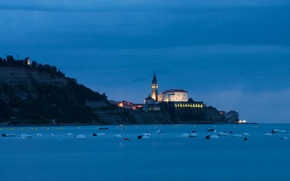 Picture houses, lighting, Church, Slovenia, lights, The Adriatic sea, the evening, town, twilight, blue, the sky, ...