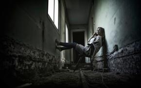 Picture girl, corridor, chair, legs, leg warmers