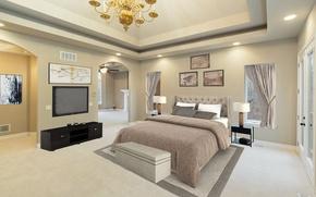 Picture design, bed, TV, bedroom