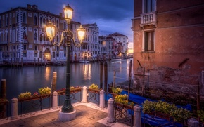 Picture water, the city, lights, home, the evening, Italy, lantern, Venice, channel