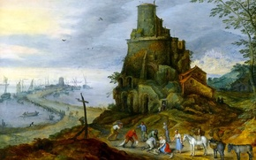 Wallpaper picture, tower, landscape, Jan Brueghel the younger, people, Sea Coast with Castle Ruins
