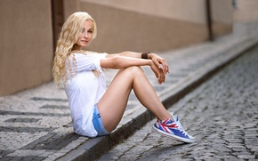 Picture girl, street, shorts, sneakers, legs, the sidewalk, sitting, Andrea