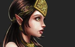 Picture eyes, look, background, earrings, art, profile, elf, ears