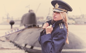 Wallpaper girl, submarine, officer, jacket, Navy day, the captain of the 2nd rank