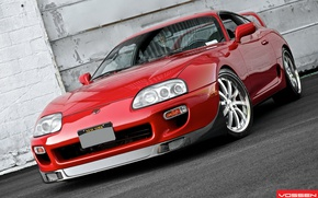 Picture Red, Toyota, Supra, Vossen, Wheels