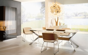 Picture table, lamp, furniture, Windows, chairs, interior, chandelier