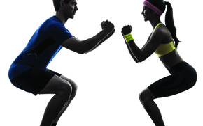 Picture woman, man, pose, sportswear, squats