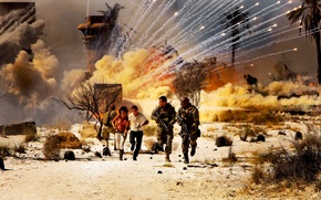 Picture smoke, The explosion, running, Egypt, Megan Fox, military, Transformers 2