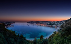 Picture sunset, Bay, the evening, Bay, twilight, Monaco, panorama, French Riviera, Cote d'azur, Villefranche sur Mer
