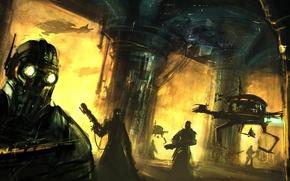 Picture weapons, people, robot, Columns, mercenaries