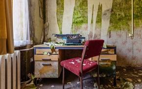 Wallpaper mucus, heater, wall, office, chair, typewriter, Windows